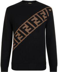 5c9e8395af3aa Fendi - Block Stripe Knitted Jumper - Lyst