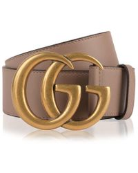 c7ebf40e8 Gucci Leather Belt With Double G Buckle in Pink - Lyst