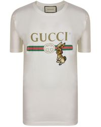 11610dab826 Lyst - Gucci Logo T-shirt With Rabbit in White for Men