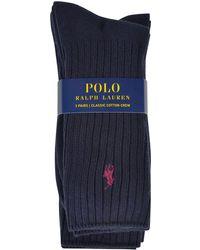 Polo Ralph Lauren - Three Pack Ribbed Socks - Lyst