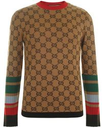 8af678b12d64 Gucci Bat Jacquard Crewneck Sweater in Yellow for Men - Lyst