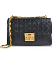 Lyst - Gucci Padlock Small Gg Bees Shoulder Bag in Black 5cfb62eeaddc2