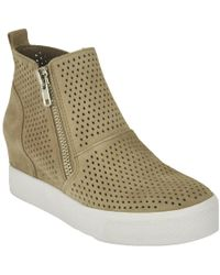 Steve Madden - Perforated Suede Wedge Trainer - Lyst