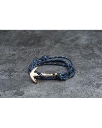 Footshop - Miansai Anchor On Rope Bracelet Gold/ Indigo - Lyst