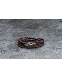 Footshop - Miansai Trice Bracelet With Sleeve Silver/ Brown - Lyst