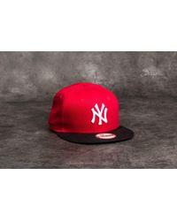 KTZ - 9fifty Mlb Cotton Block New York Yankees Cap Scarlet/ Black/ White - Lyst