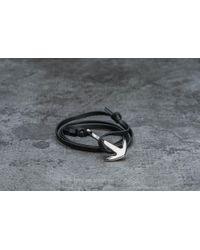 Footshop - Miansai Anchor On Leather Bracelet Silver/ Black - Lyst