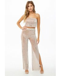 Forever 21 - Metallic Cropped Cami & Trousers Set - Lyst