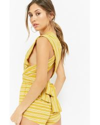 220088d084c9 Forever 21 - Women s Striped Plunging Playsuit - Lyst