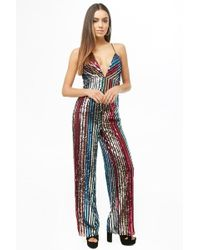Forever 21 - Multicolor Striped Sequin Jumpsuit - Lyst