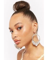 Forever 21 - Coin-embellished Drop Hoop Earrings - Lyst