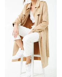 Forever 21 - Faux Suede Trench Coat , Camel - Lyst