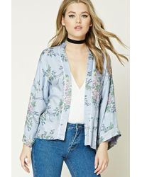 Forever 21 - Contrast Piping Floral Kimono - Lyst