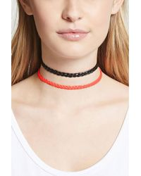Forever 21 - Braided Faux Leather Choker Set - Lyst
