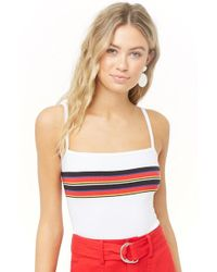 723a005b2e Forever 21 - Women s Ribbed Striped Camisole Top - Lyst