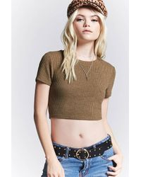 Forever 21 | Ribbed Knit Crop Top | Lyst