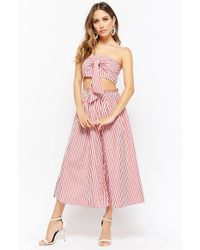 Forever 21 - Striped Tie Front Crop Top & Trousers Set - Lyst