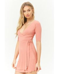 Forever 21 - Ribbed Surplice Dress - Lyst