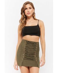 Forever 21 - Faux Suede Lace-up Mini Skirt - Lyst