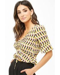Forever 21 - Ruched Crepe Geo Top - Lyst