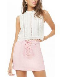 938299d5e0 Forever 21 - Lace-up Mini Skirt , Light Pink - Lyst