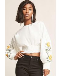 09915fe560c04d Forever 21 - Selfie Leslie Embroidered Balloon-sleeve Top - Lyst