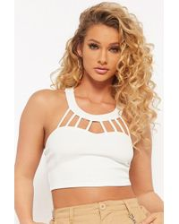 Forever 21 - Textured Cutout Crop Top - Lyst