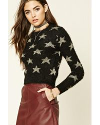 Forever 21 - Star Pattern Fuzzy Knit Sweater - Lyst