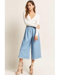 Forever 21 - High-waist Chambray Culottes - Lyst
