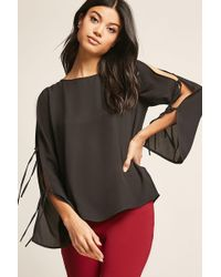 Forever 21 - Crepe Split-sleeve Top - Lyst