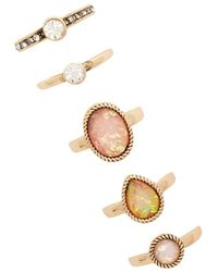 Forever 21 - Iridescent Faux Stone Ring Set - Lyst
