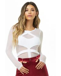 Forever 21 - Sheer Caged Bodysuit - Lyst