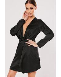 Missguided Twist-front Satin Dress At , Black