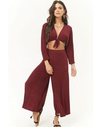 Forever 21 - Sheeny Knotted Crop Top & Culottes Set - Lyst