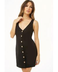 Forever 21 - Sleeveless Button-front Linen Dress - Lyst
