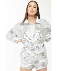Forever 21 - Metallic Graphic Anorak - Lyst