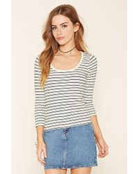 a65302b28b3bc Forever 21 Ribbed Knit Mock Neck Top in White - Lyst
