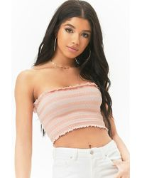 cfde02a957b Forever 21 Women s Smocked Tube Top in White - Lyst