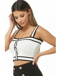 3f5dafafe2 Lyst - Forever 21 Ribbed Knit Crop Top in Black