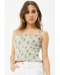Forever 21 - Daisy Sunflower Smocked Crop Cami - Lyst