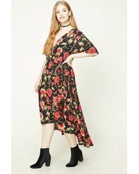 277cbe0490 Forever 21 - Plus Size Floral Wrap Dress - Lyst