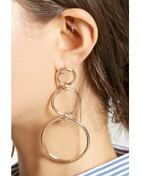 Forever 21 - Linked Drop Hoop Earrings - Lyst