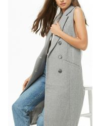 Forever 21 - Double-breasted Longline Vest - Lyst