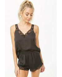 Lyst - Forever 21 Satin Accordion-pleat Cami   Short Pyjama Set in Black 212e6d751