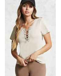 Forever 21 | Lace-up Mineral Wash Tee | Lyst
