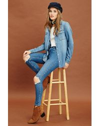 Forever 21 - Chambray Button Front Shirt - Lyst