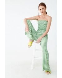Forever 21 Striped Palazzo Pants , Avocado/ivory