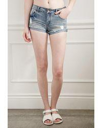 Forever 21 - Ripped Denim Shorts - Lyst