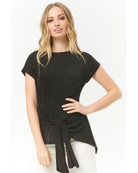 Forever 21 - Tie-front Stretch-knit Top - Lyst