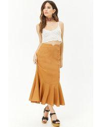 Forever 21 - Linen-blend Fluted Skirt - Lyst